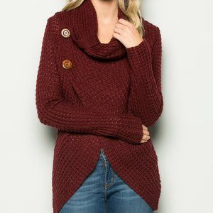 Miracle Cowl Sweater Wine S/M New